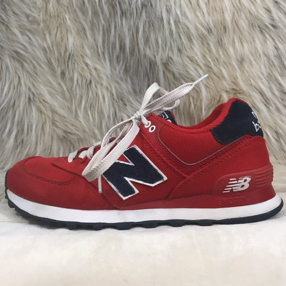 red white and blue new balance 574
